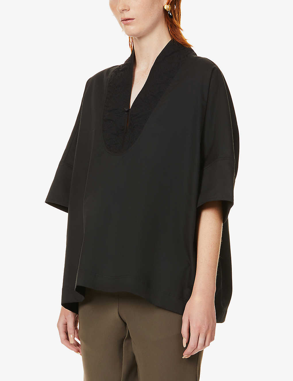 YS: Contrast-neckline relaxed-fit woven top