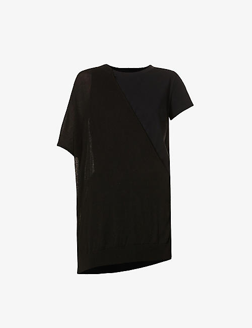 YS: Asymmetric-panel relaxed-fit cotton T-shirt