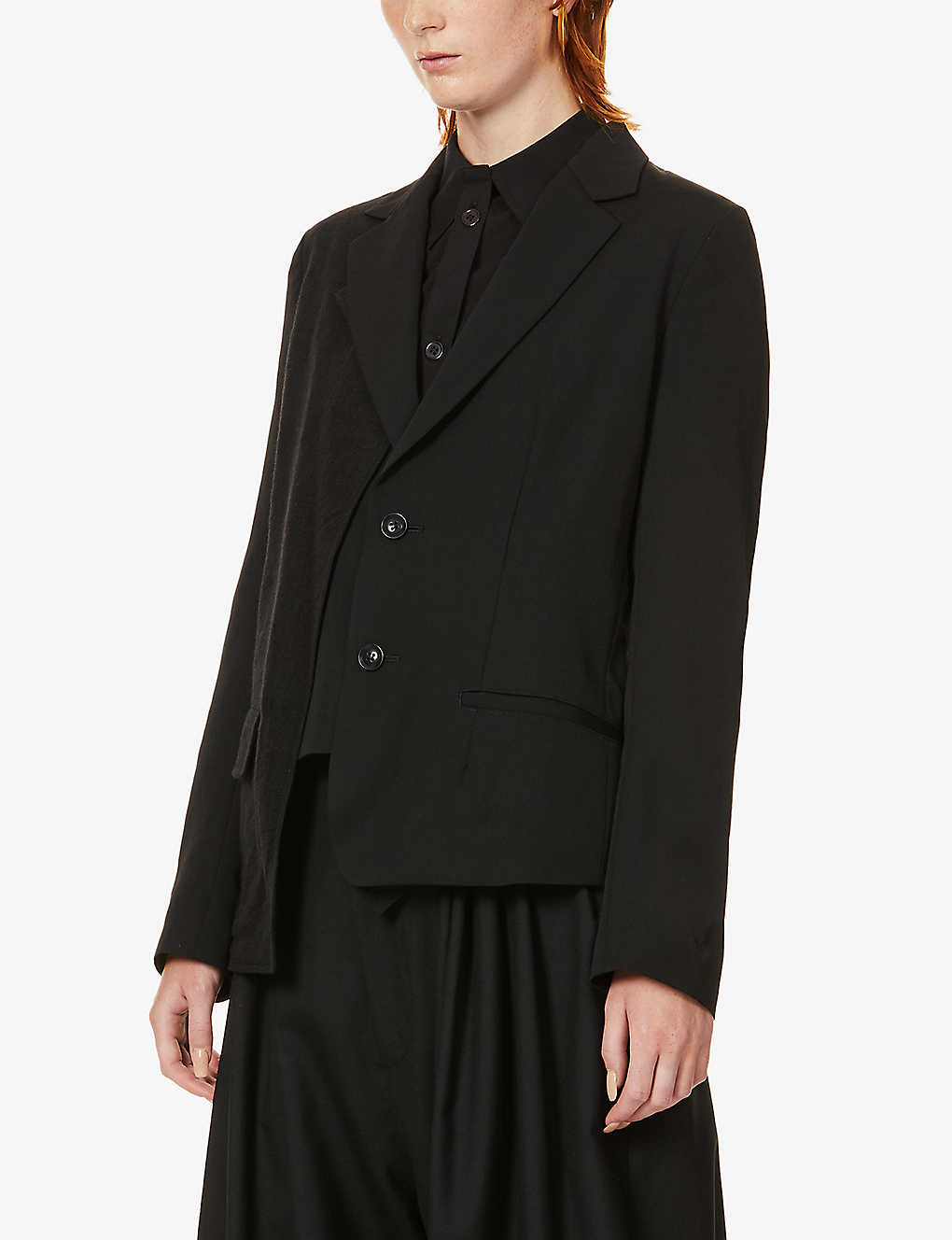 YS: Contrast-panel wool blazer