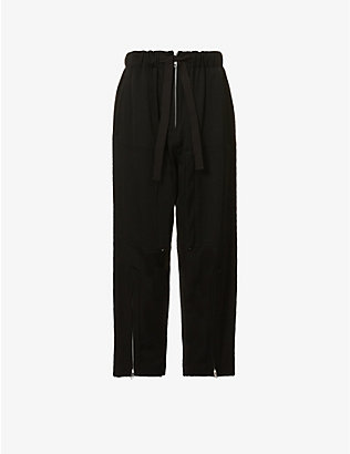 YS: Elasticated waistband wide-leg high-rise wool trousers
