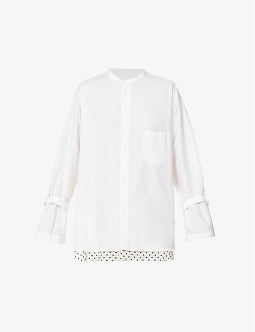 YS: Polka-dot underlay relaxed-fit cotton shirt
