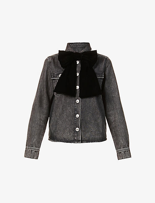 MAJE: Candice velvet bow-embellished denim jacket