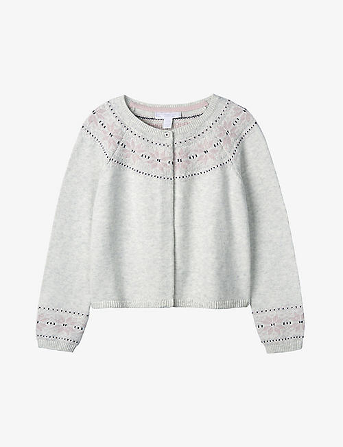 THE LITTLE WHITE COMPANY: Fair Isle cotton-blend cardigan 1-6 years