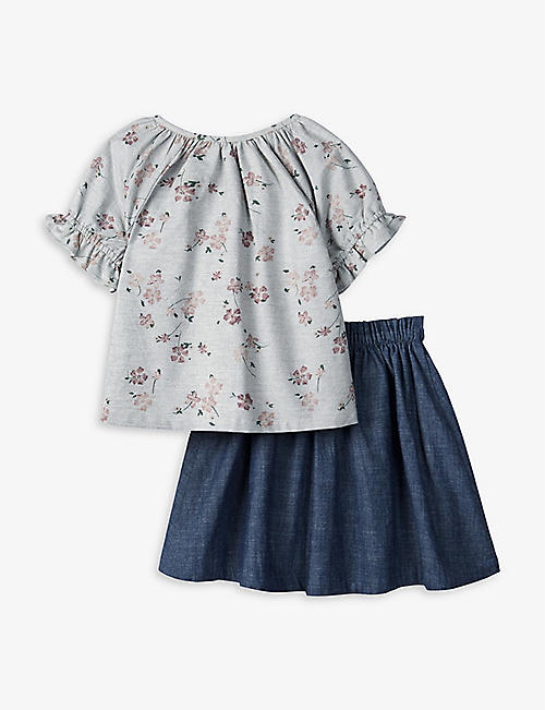 THE LITTLE WHITE COMPANY: Pressed flowers-print cotton top and skirt set 1-6 years