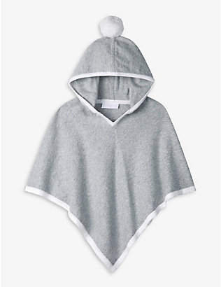 THE LITTLE WHITE COMPANY: Pom-pom cotton and wool-blend poncho 1-6 years