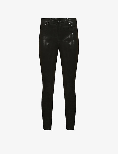 ALLSAINTS: Alex coated skinny mid-rise stretch-woven jeans
