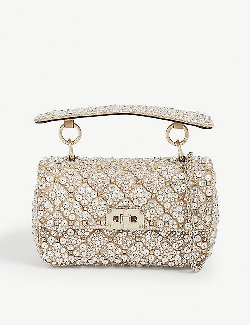 VALENTINO GARAVANI: Valentino Garavani embellished leather cross-body bag
