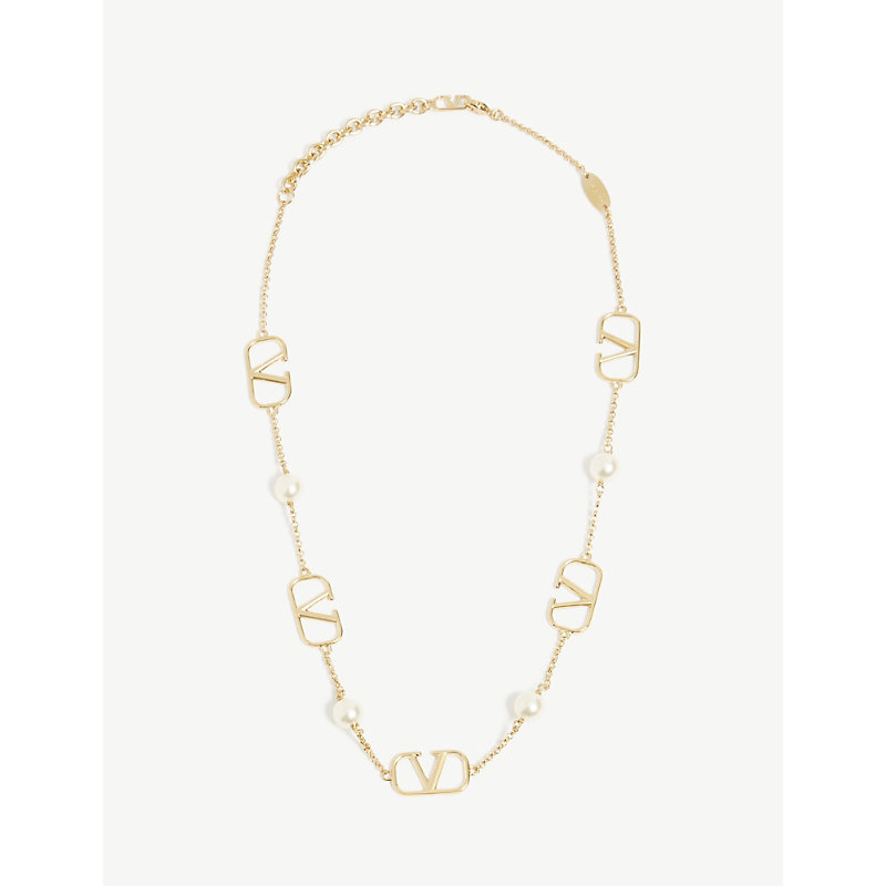 Valentino V LOGO 18CT GOLD AND PEARL NECKLACE