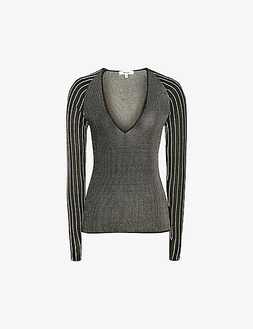 REISS: Esta metallic-knit jumper