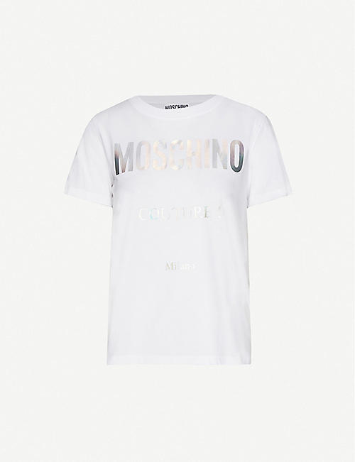 MOSCHINO: Couture logo-print cotton-jersey T-shirt