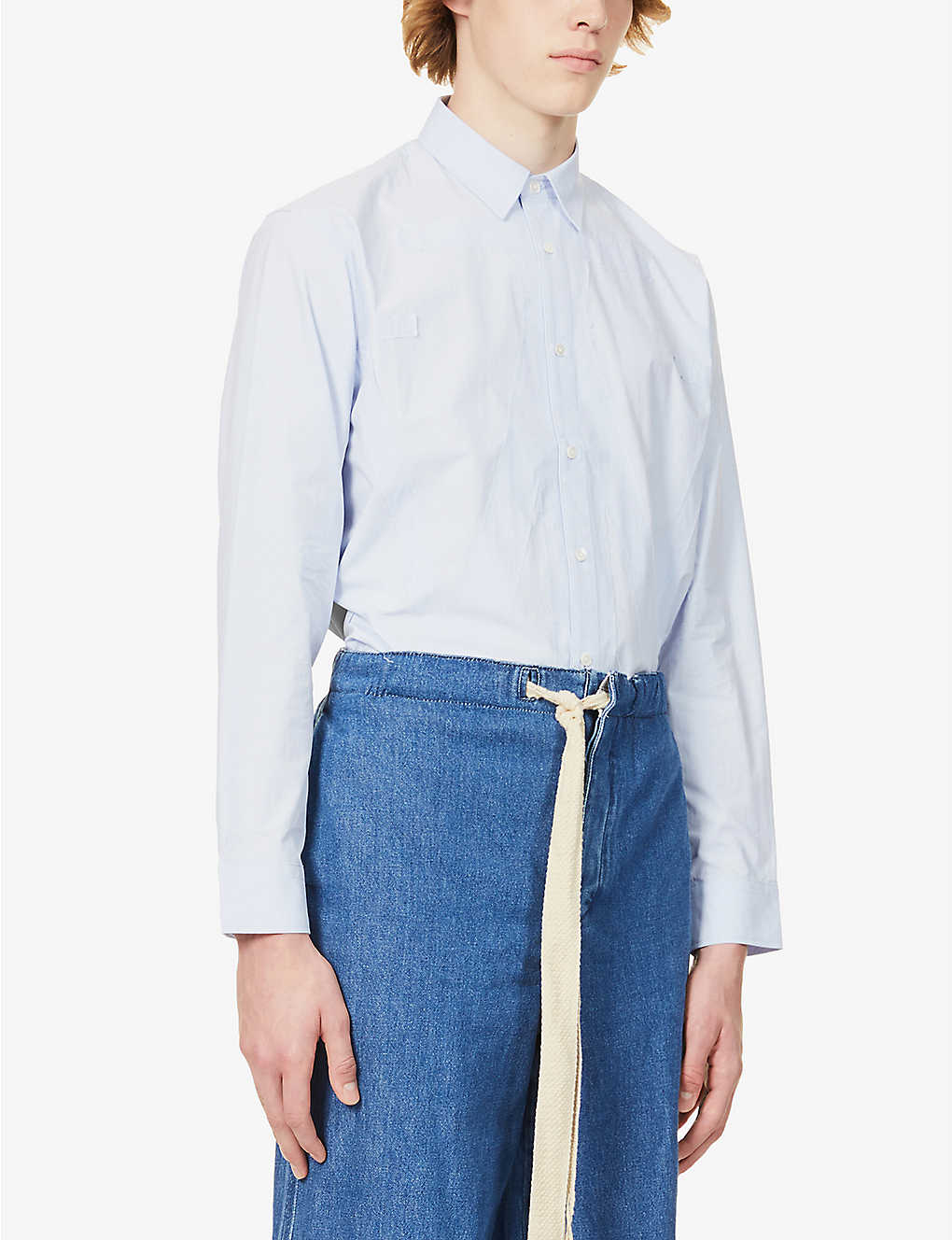 JW ANDERSON: Brand-appliqué boxy-fit cotton shirt