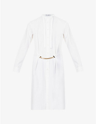 JW ANDERSON: Mandarin-collar chain-embellished cotton shirt