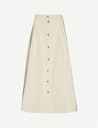 SAMSOE & SAMSOE: Rowena high-waist organic cotton-twill midi skirt