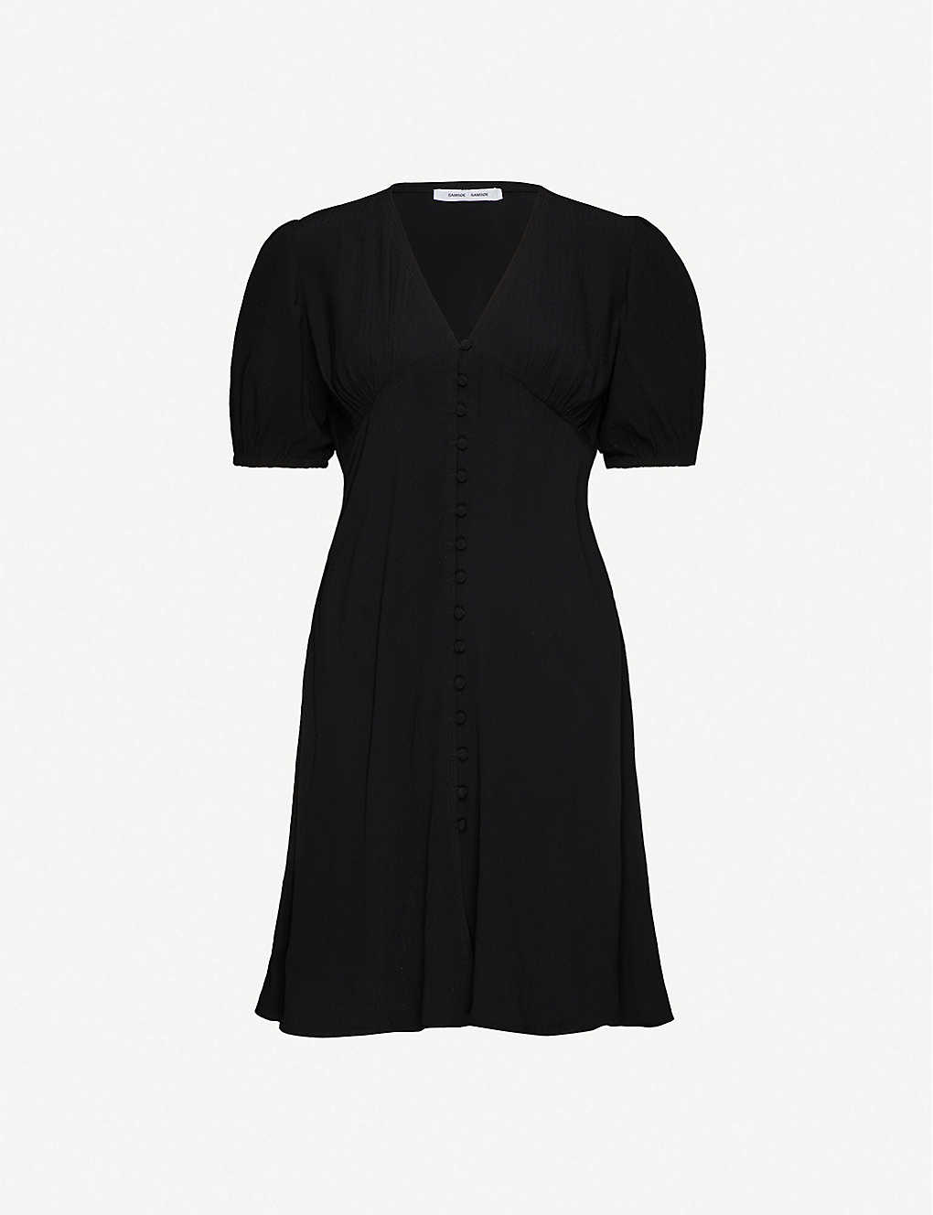 SAMSOE & SAMSOE: Petunia V-neck woven mini dress