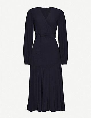 SAMSOE & SAMSOE: Kleva puff-sleeve crepe midi wrap dress