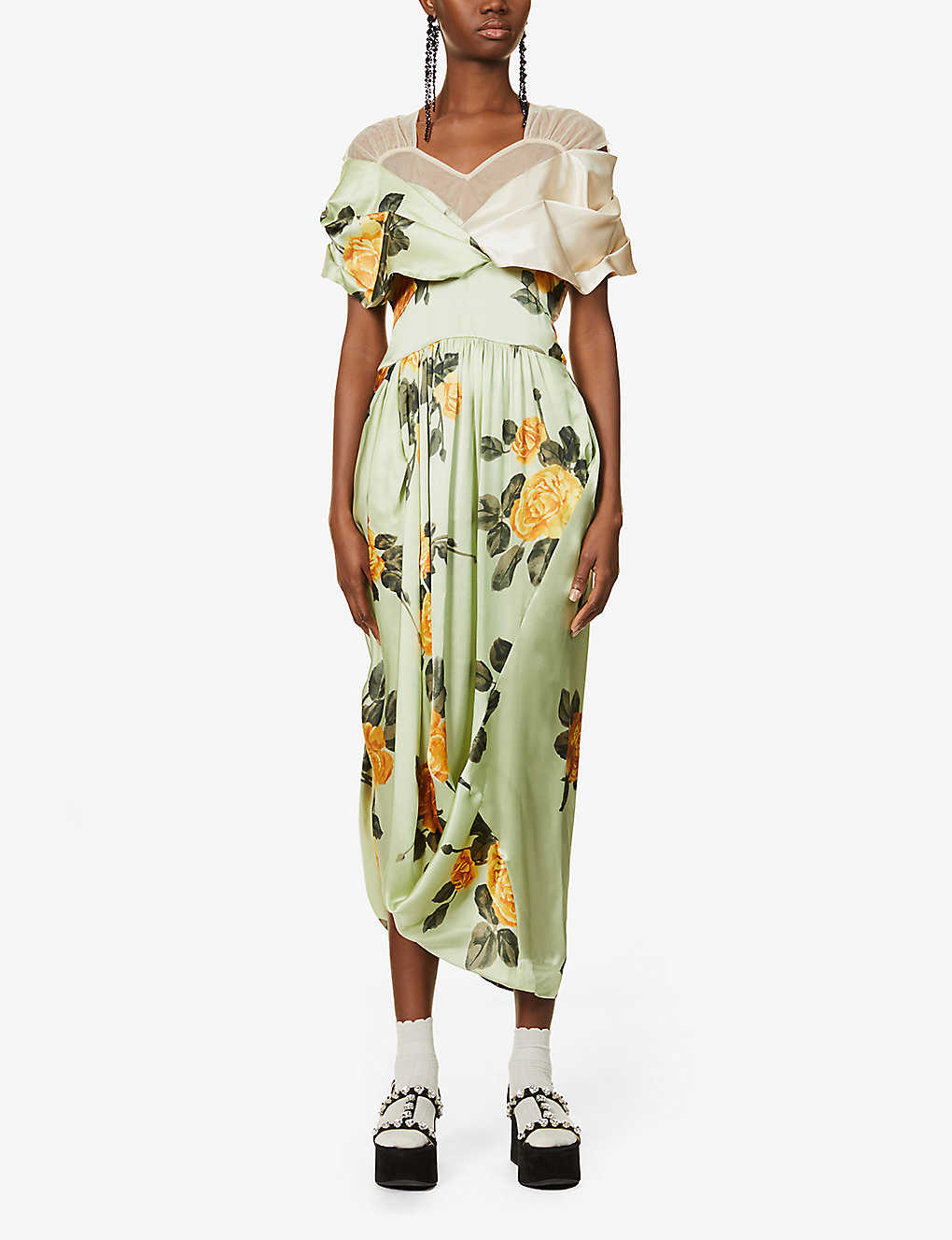 SIMONE ROCHA: Floral-print silk and tulle maxi dress
