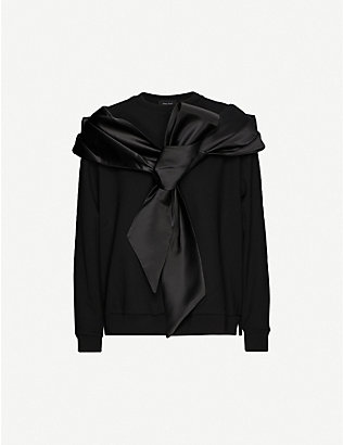 SIMONE ROCHA: Bow-embellished stretch-jersey sweatshirt