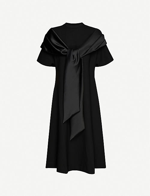 SIMONE ROCHA: Bow-embellished jersey and satin midi dress