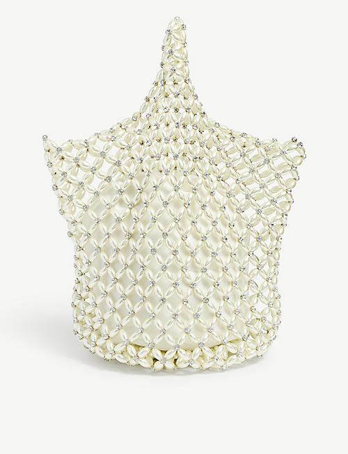 SIMONE ROCHA: Faux pearl beaded net bag