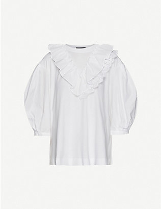 SIMONE ROCHA: Frill-trimmed cotton-jersey top