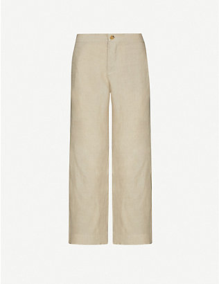 ASCENO: The Antibes tapered high-rise organic linen trousers
