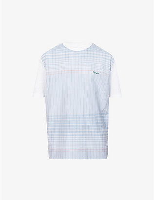 LANVIN: Logo-embroidered cotton T-shirt