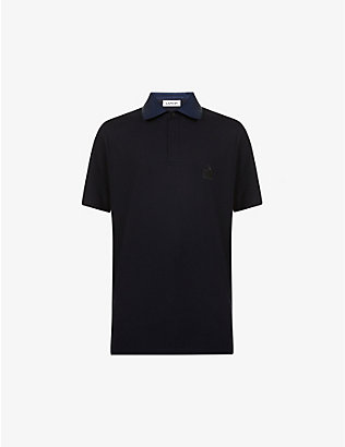LANVIN: Contrast-collar cotton polo shirt