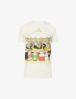 LANVIN: Graphic-print cotton-jersey T-shirt