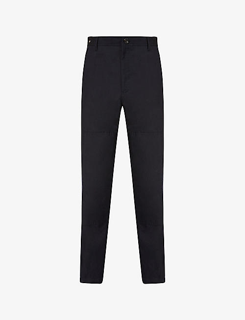LANVIN: Mid-rise tapered wool and linen-blend trousers