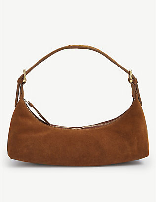 BY FAR: Mara suede shoulder bag