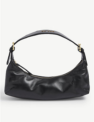 BY FAR: Mara leather shoulder bag