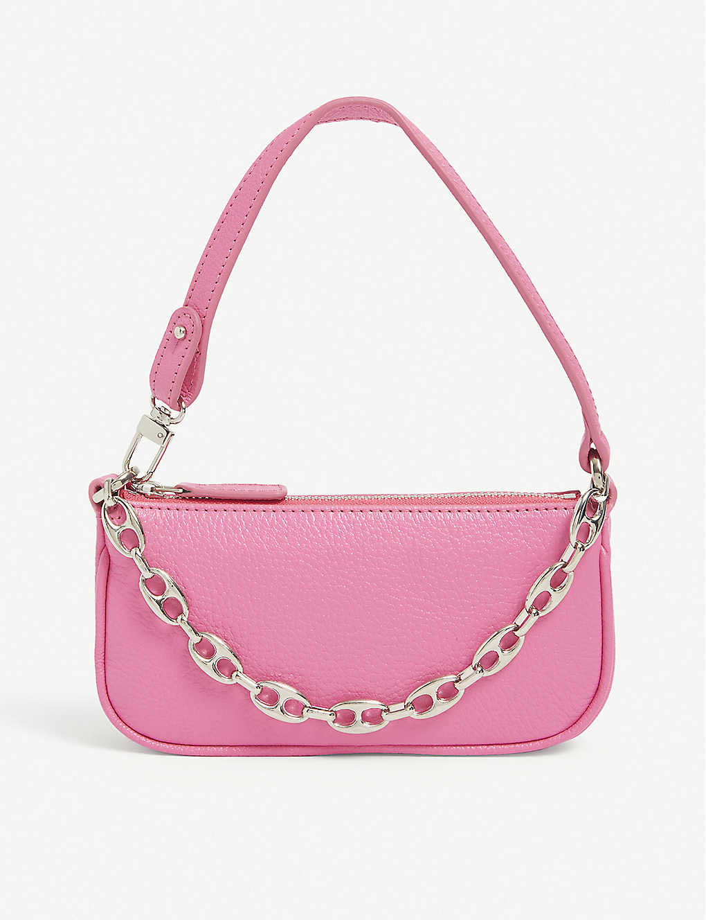 By Far RACHEL MINI CHAIN-TRIMMED LEATHER SHOULDER BAG