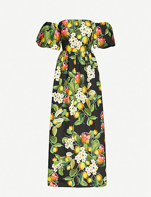 BORGO DE NOR: Citrus-print semi-sweetheart neckline cotton maxi dress