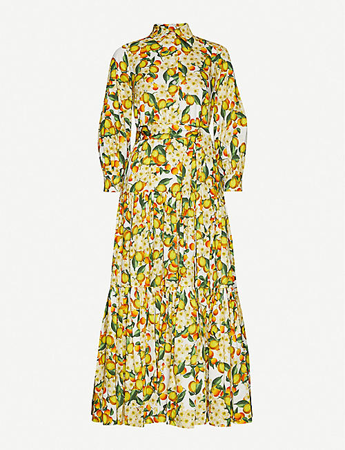 BORGO DE NOR: Citrus-print puff-sleeved cotton maxi dress