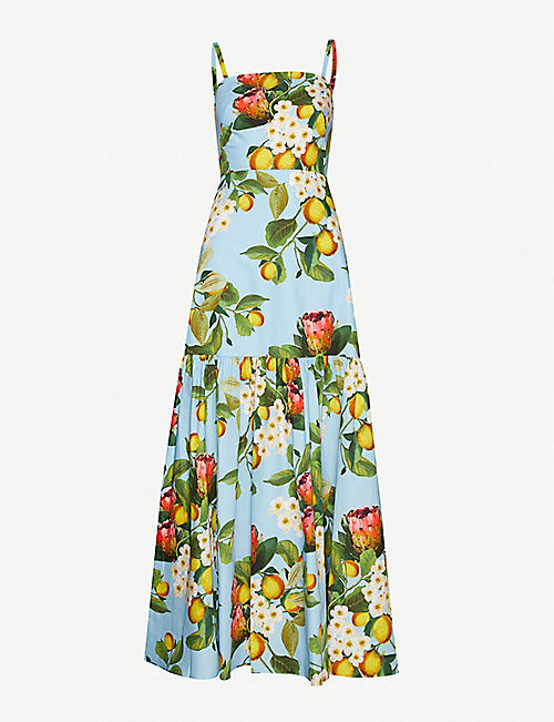 BORGO DE NOR: Citrus-print cotton maxi dress