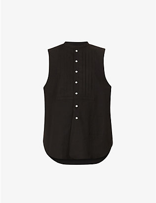 THE SOLOIST: Sleeveless pleated-panel cotton vest