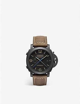 PANERAI: Luminor Chrono Flyback ceramic and leather watch