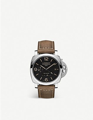 PANERAI: Luminor GMT 10 days polished steel and leather watch
