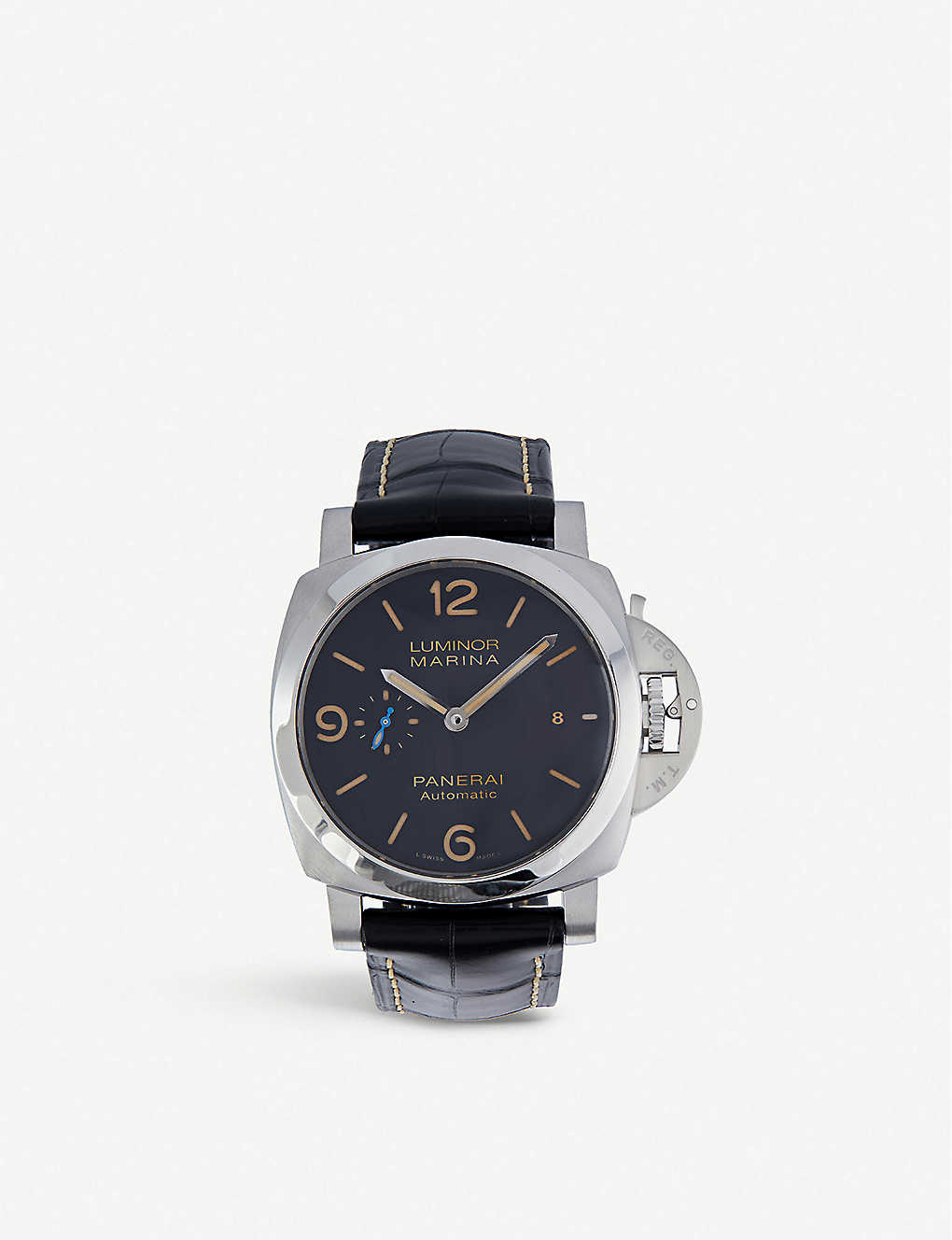 PANERAI: PAM01312 Luminor Marina stainless-steel and leather automatic watch