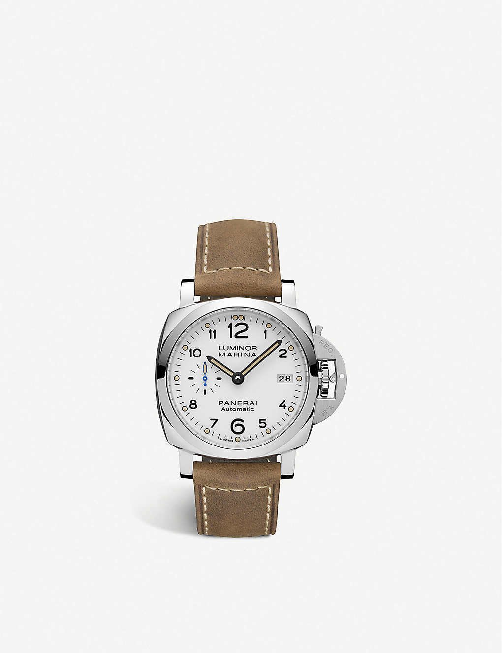 PANERAI: PAM01523 Luminor Marina leather and stainless steel automatic watch