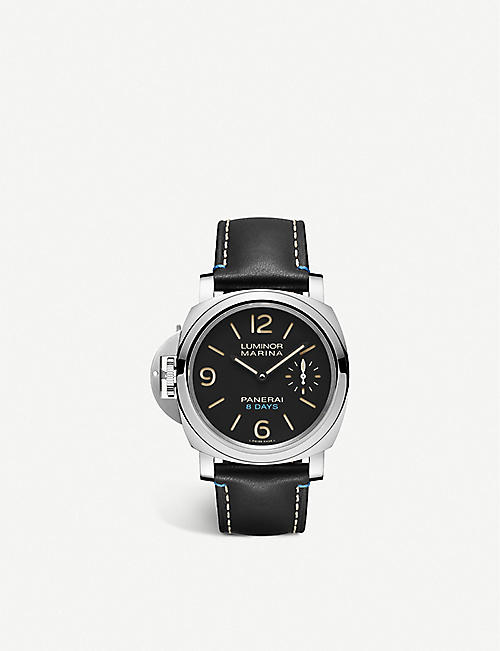 PANERAI: PAM00796 Luminor 8 Days left-handed leather and stainless steel manual watch