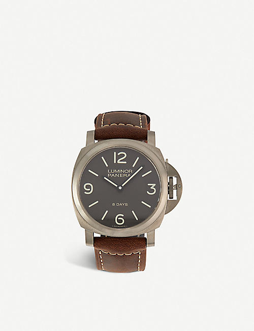 PANERAI: PAM00562 Luminor Base 8 Days titanium and leather automatic watch