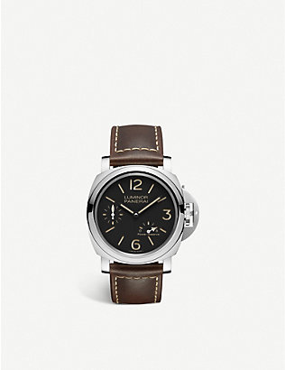 PANERAI: PAM00795 Luminor 8 Days Power Reserve stainless-steel and leather manual watch