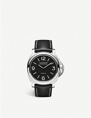 PANERAI: PAM00560 Luminor Base 8 Days stainless-steel and leather hand-wound mechanical watch