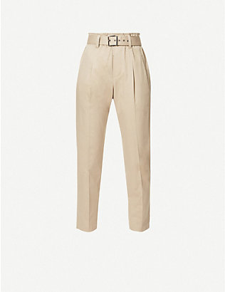 BRUNELLO CUCINELLI: Belted relaxed-fit high-rise cotton-blend twill trousers