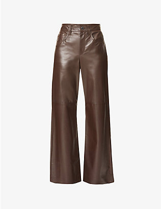 BRUNELLO CUCINELLI: Wide-leg flared high-rise leather trousers