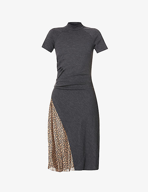 BRUNELLO CUCINELLI: Floral-panel wool-blend jersey and silk-crepe midi dress