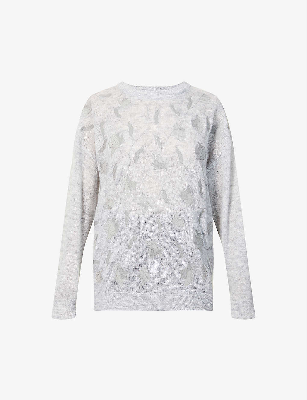 BRUNELLO CUCINELLI: Sequin-embroidered printed knitted jumper