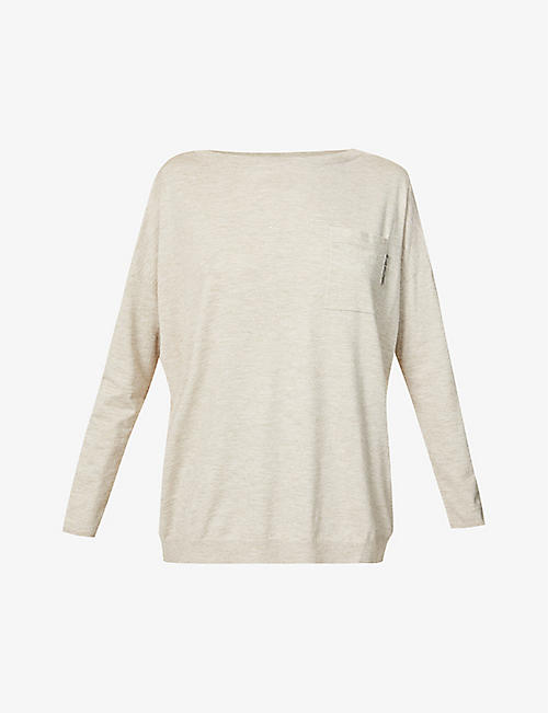 BRUNELLO CUCINELLI: Beaded cashmere-blend top