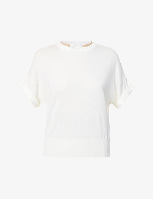 BRUNELLO CUCINELLI: Scoop-neck wool and cashmere-blend T-shirt
